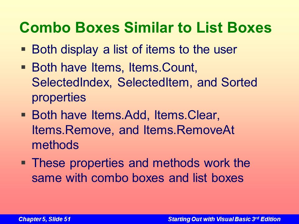 Combo Boxes Similar to List Boxes