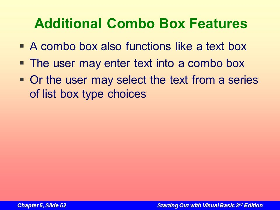 Additional Combo Box Features