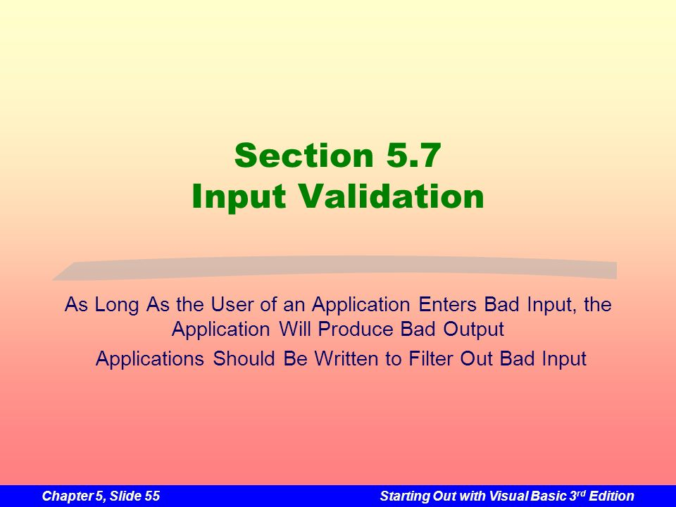 Section 5.7 Input Validation