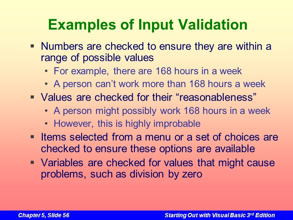 Examples of Input Validation