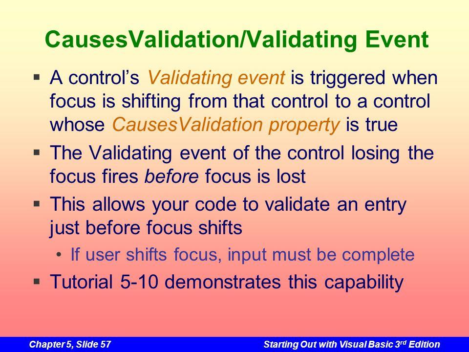 CausesValidation/Validating Event