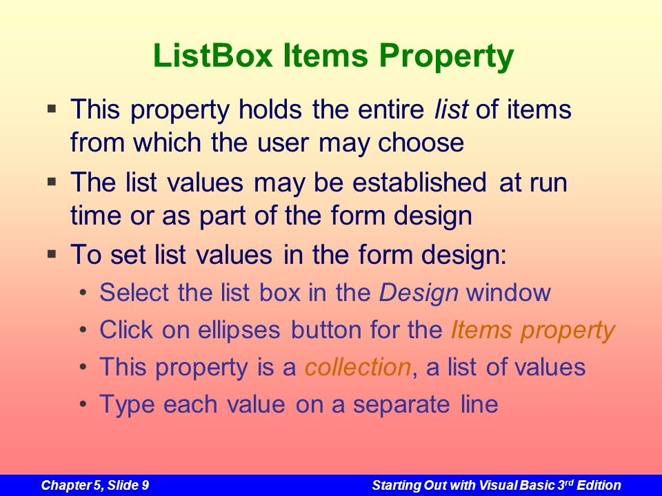 ListBox Items Property