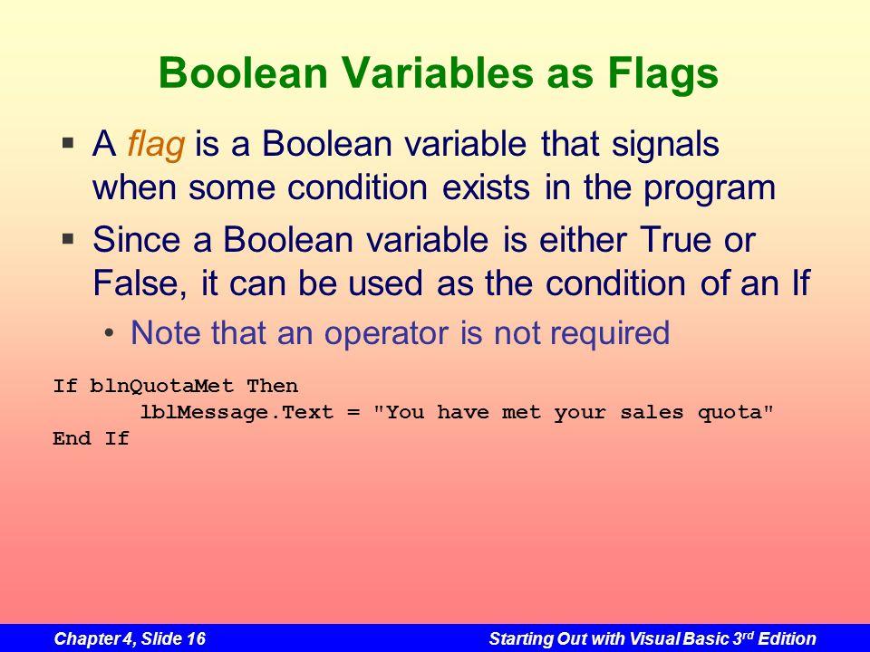 Boolean Variables as Flags