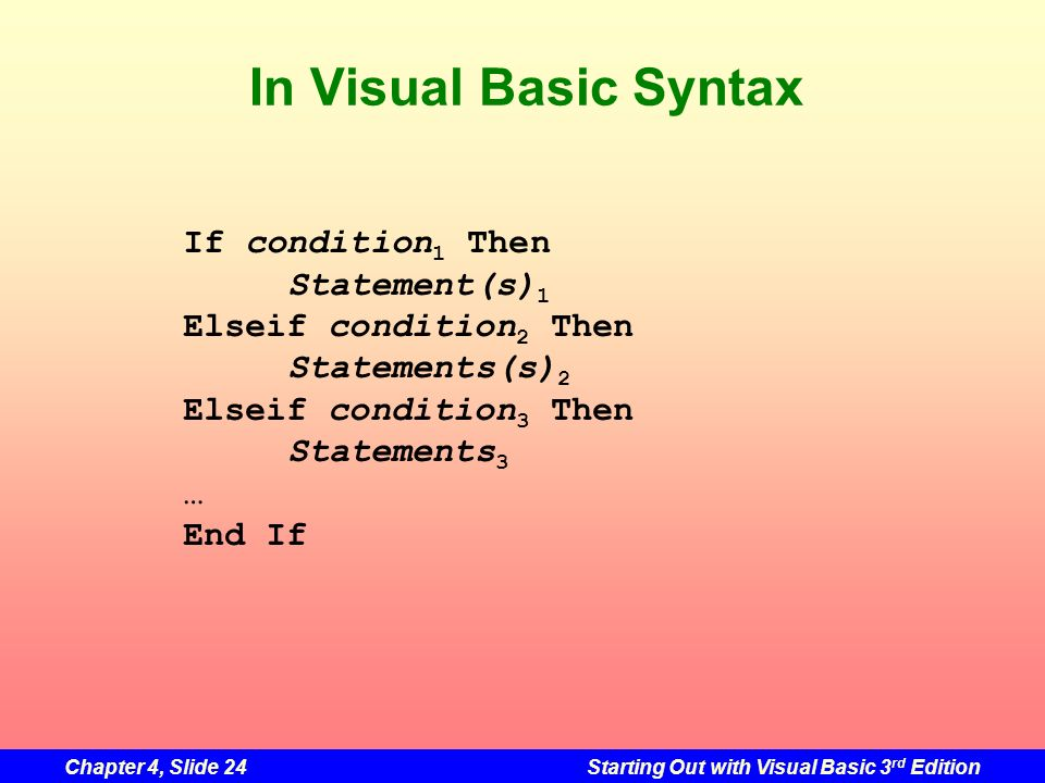 In Visual Basic Syntax If condition1 Then Statement(s)1