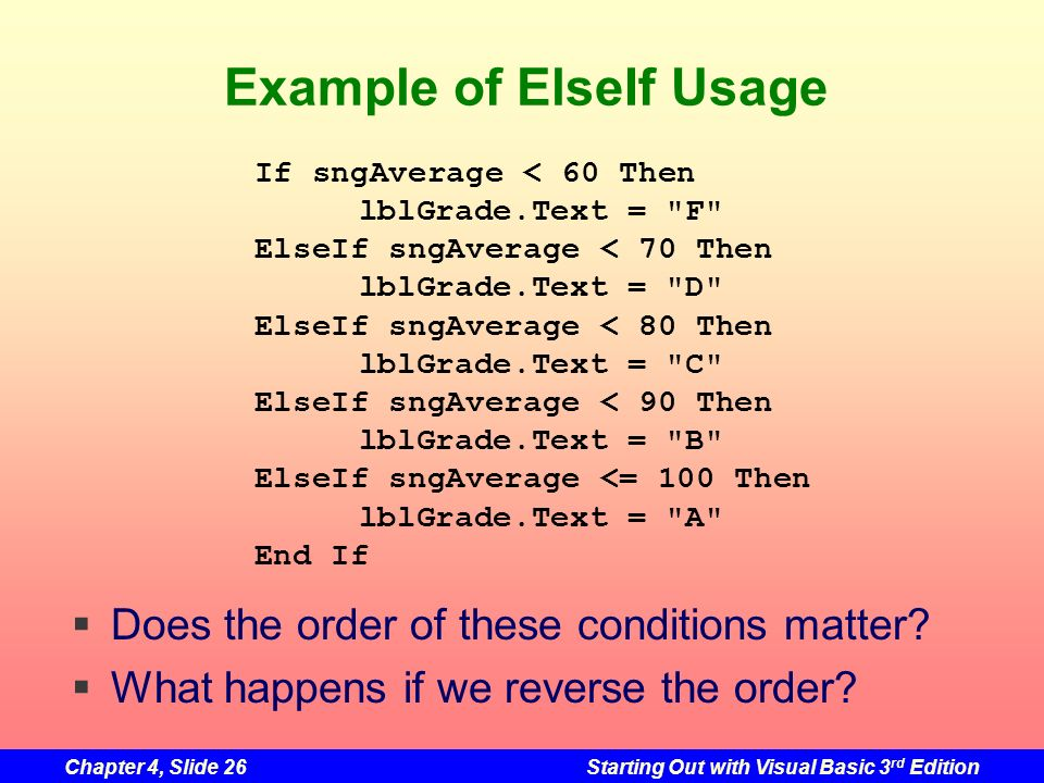 Example of ElseIf Usage