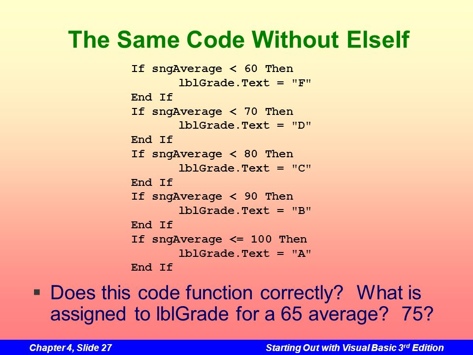 The Same Code Without ElseIf