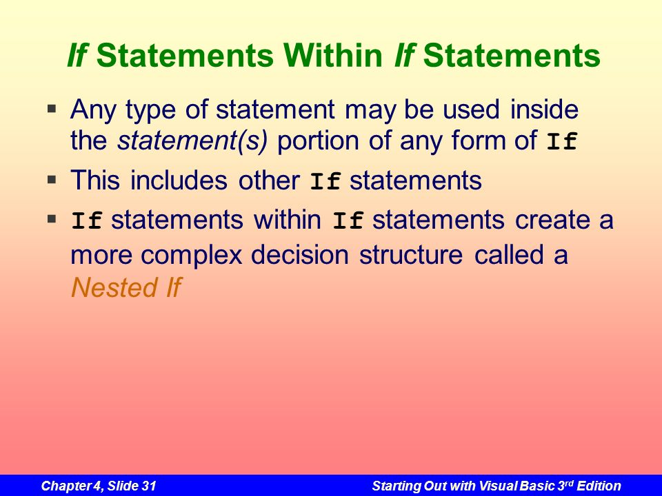 If Statements Within If Statements