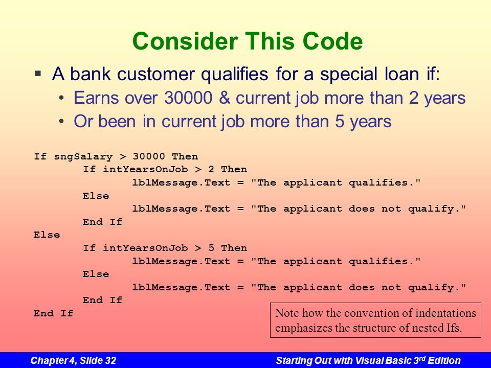 Consider This Code A bank customer qualifies for a special loan if: