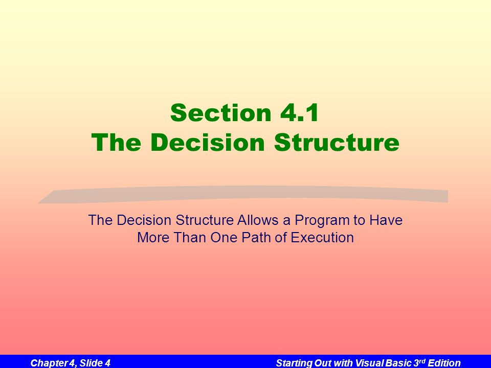Section 4.1 The Decision Structure