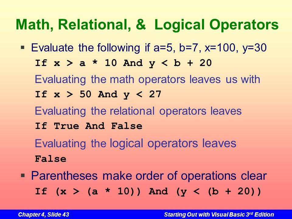 Math, Relational, & Logical Operators