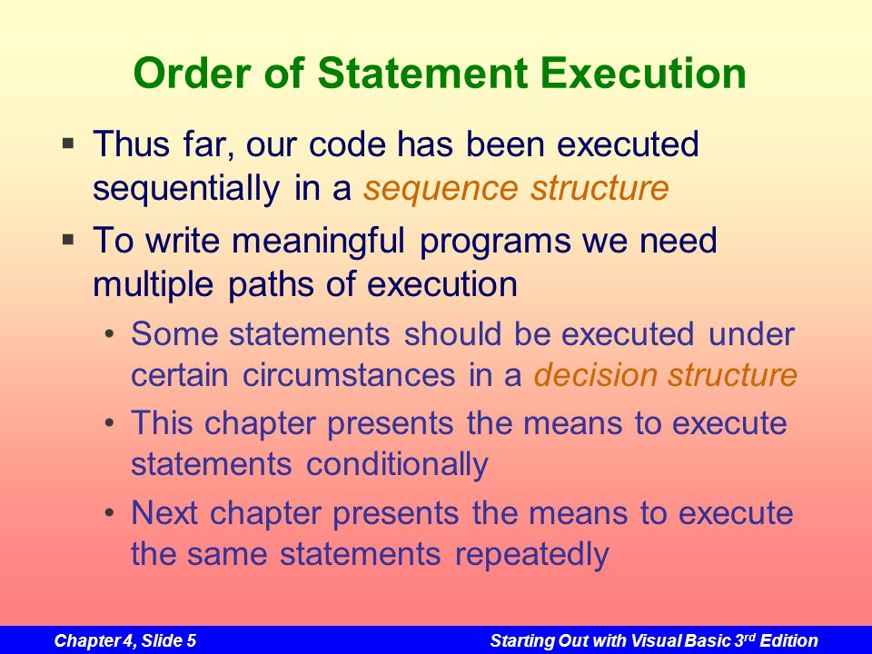 Order of Statement Execution