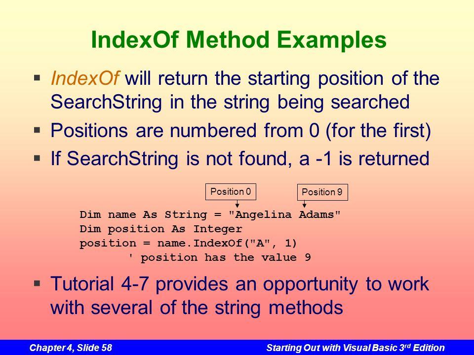 IndexOf Method Examples