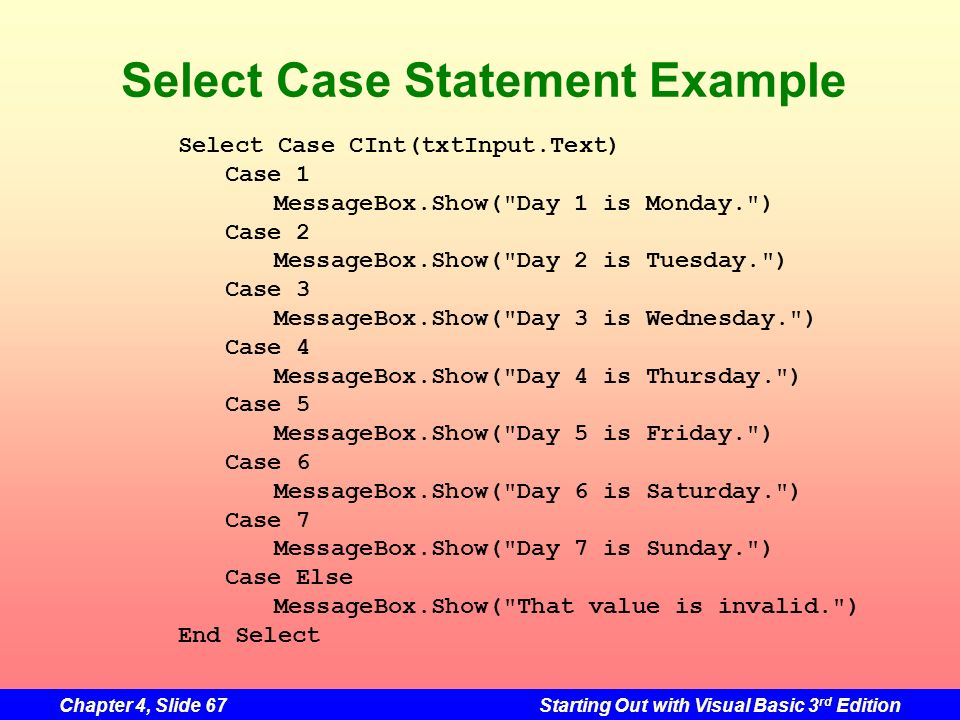 Select Case Statement Example