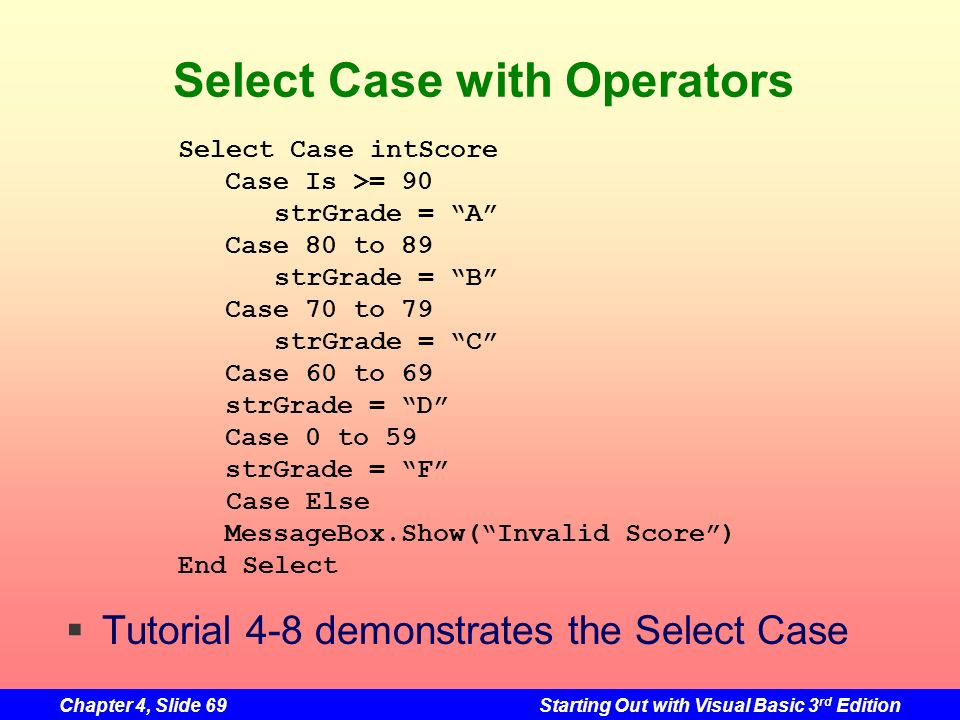 Select Case with Operators