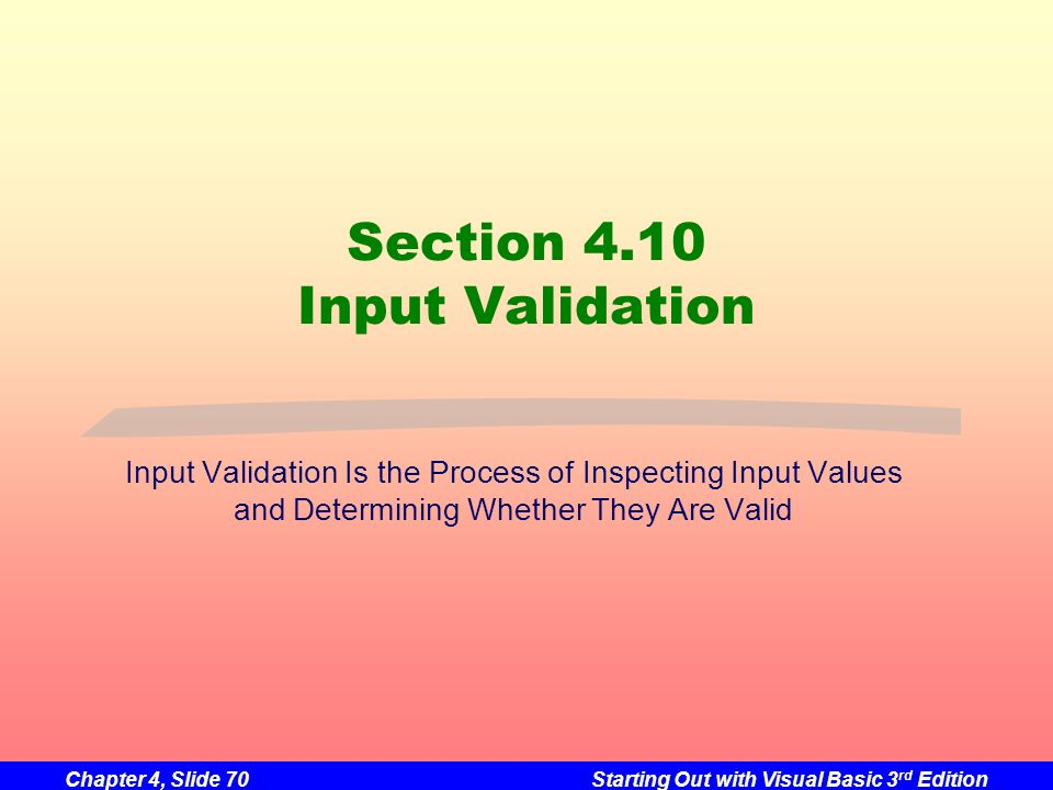 Section 4.10 Input Validation