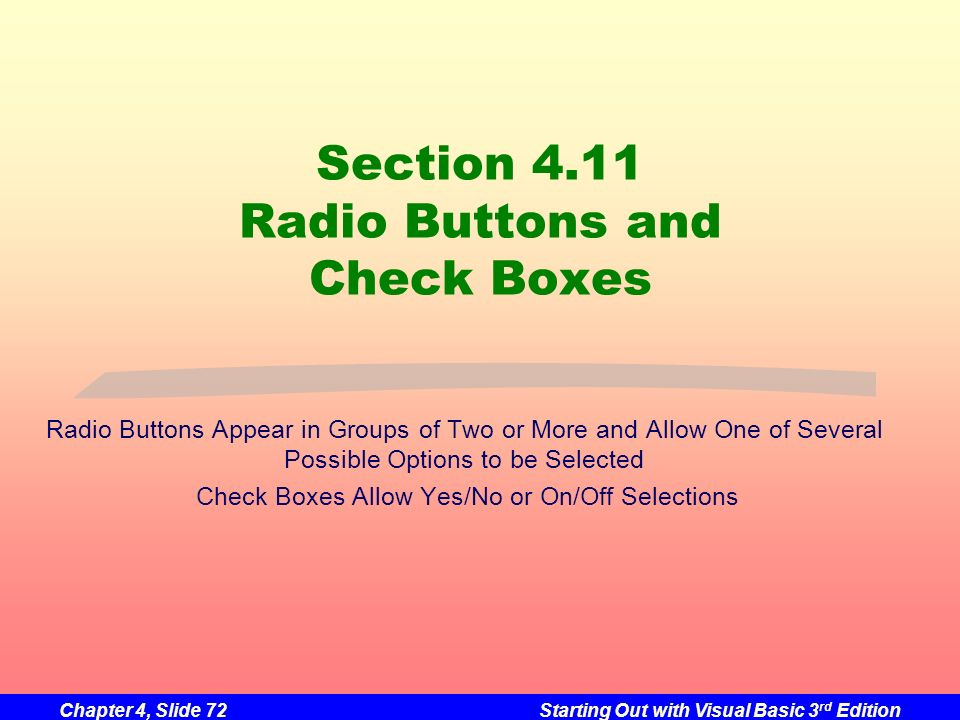 Section 4.11 Radio Buttons and Check Boxes