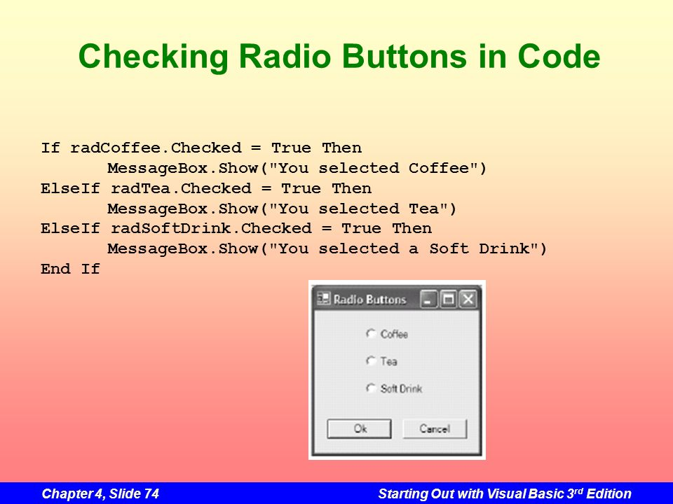 Checking Radio Buttons in Code