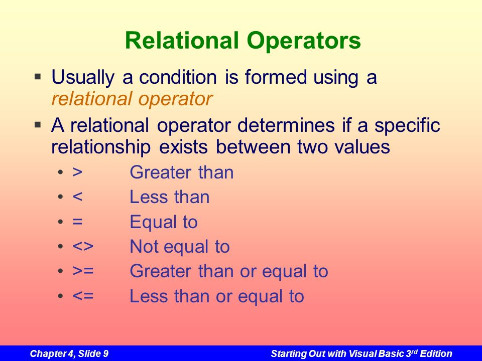 Relational Operators Usually a condition is formed using a relational operator.