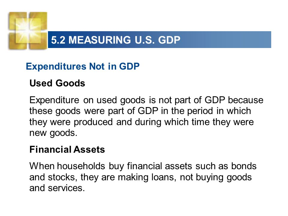 5.2 MEASURING U.S. GDP Expenditures Not in GDP Used Goods