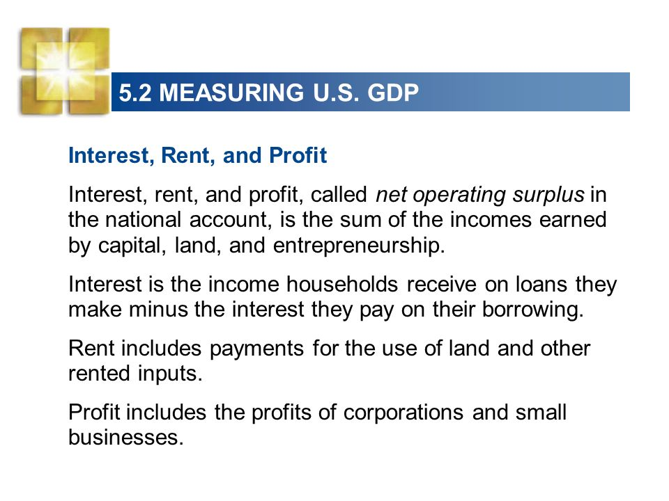 5.2 MEASURING U.S. GDP Interest, Rent, and Profit