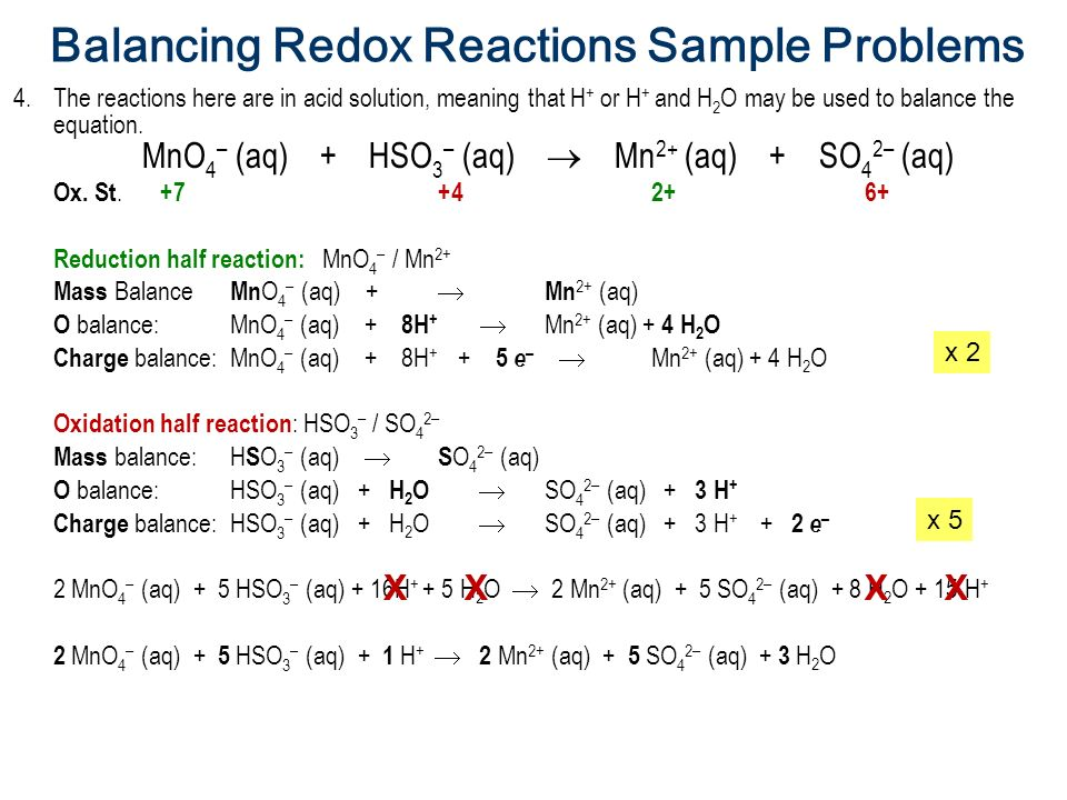 balance redox reaction Balancing redox equations it is not always possible to balance redox equations using the simple inspection technique the following unbalanced net ionic equation provides an example.