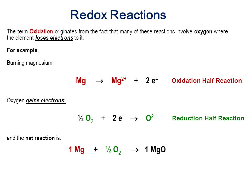 oxidation reduction reaction examples pdf