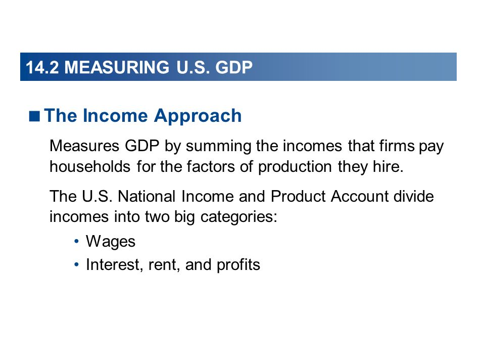 The Income Approach 14.2 MEASURING U.S. GDP