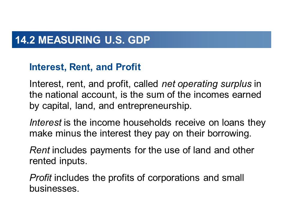 14.2 MEASURING U.S. GDP Interest, Rent, and Profit
