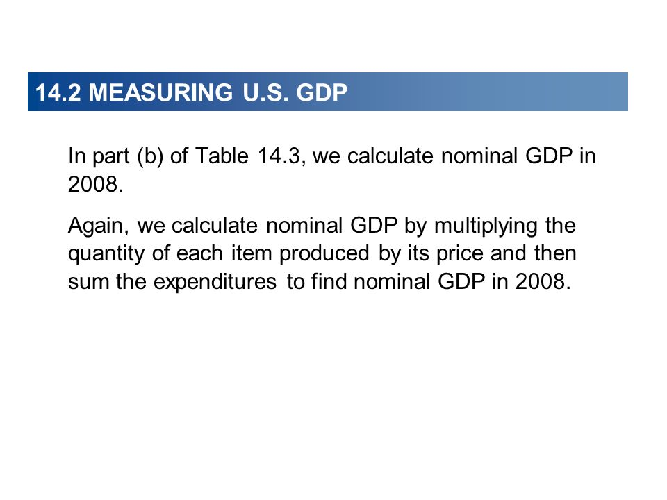 14.2 MEASURING U.S. GDP In part (b) of Table 14.3, we calculate nominal GDP in 2008.