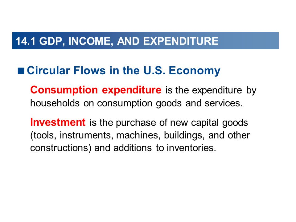 14.1 GDP, INCOME, AND EXPENDITURE
