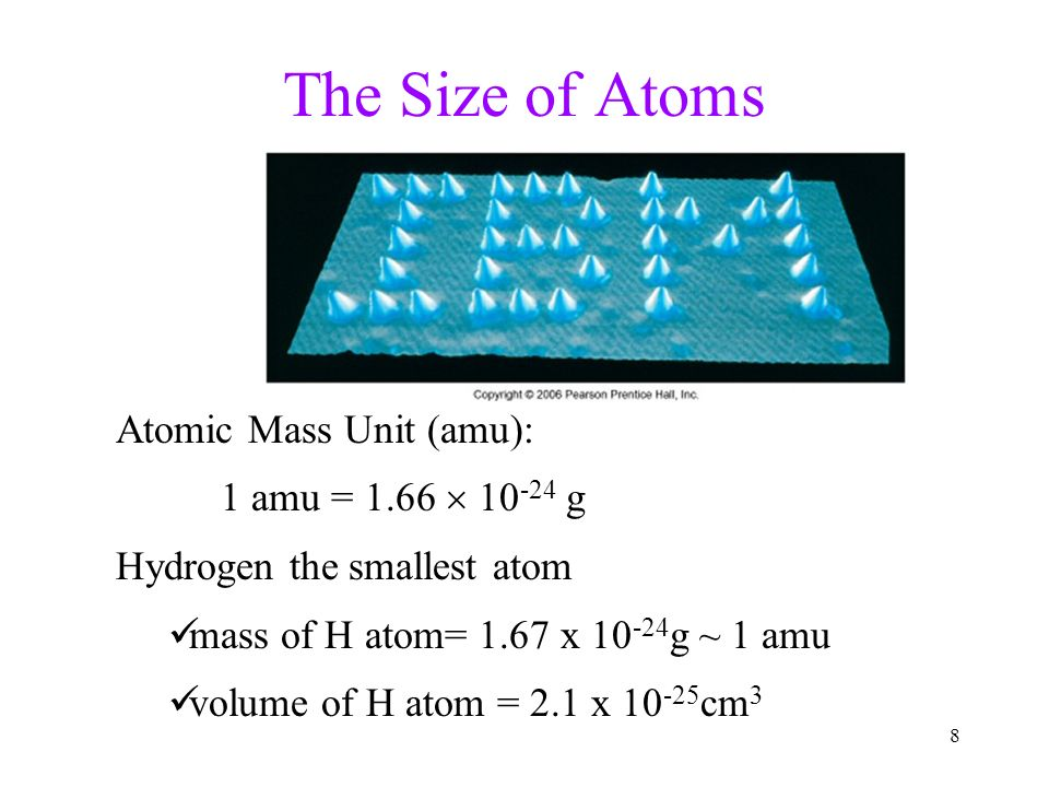 Atoms the periodic table ppt video online download the size of atoms atomic mass unit amu 1 amu 166 urtaz Gallery