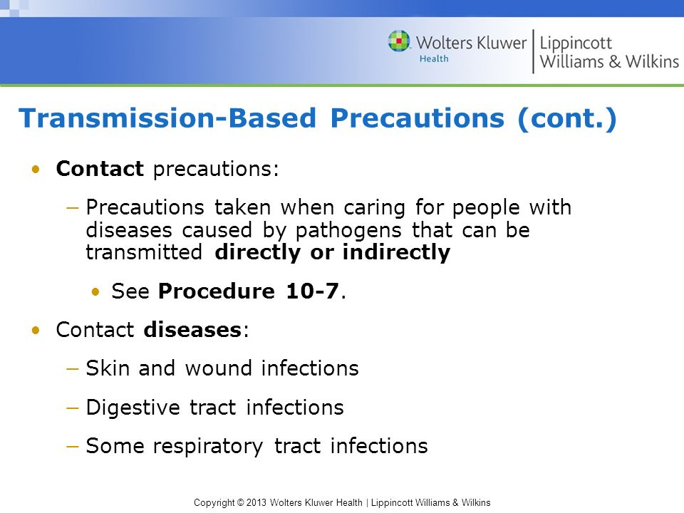 Transmission-Based Precautions (cont.)