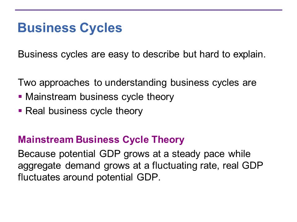 Business Cycles Business cycles are easy to describe but hard to explain. Two approaches to understanding business cycles are.