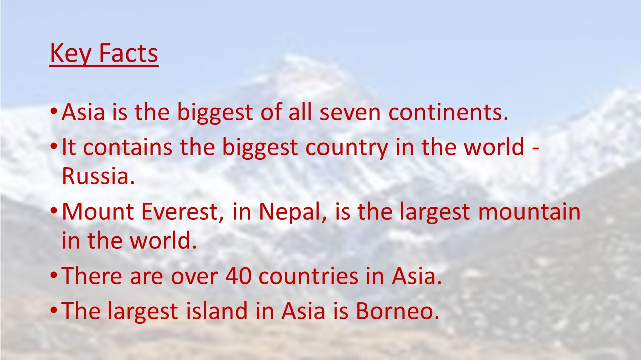 Asia Facts: did you know that With over 4 billion people and 30% of Earth's total land area, Asia is the Earth's largest and most populous continent? Did you know that.