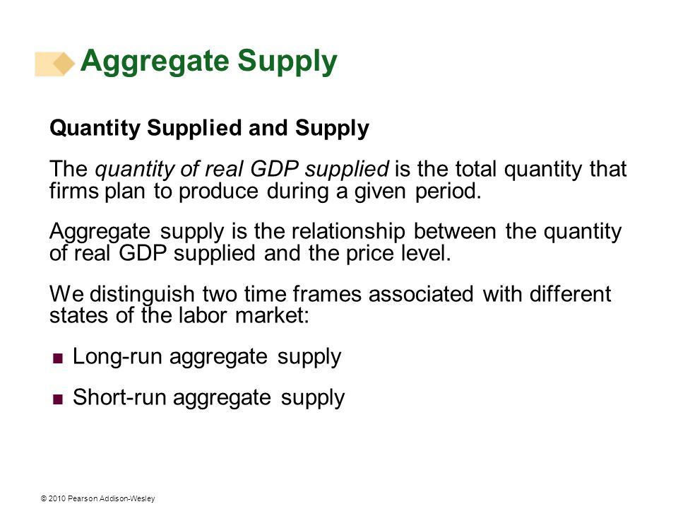 Aggregate Supply Quantity Supplied and Supply