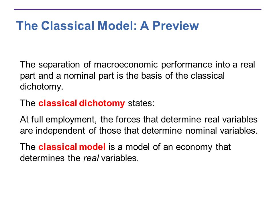 The Classical Model: A Preview