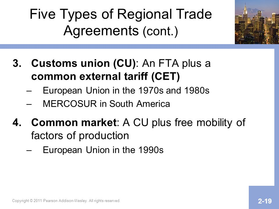 Five Types of Regional Trade Agreements (cont.)