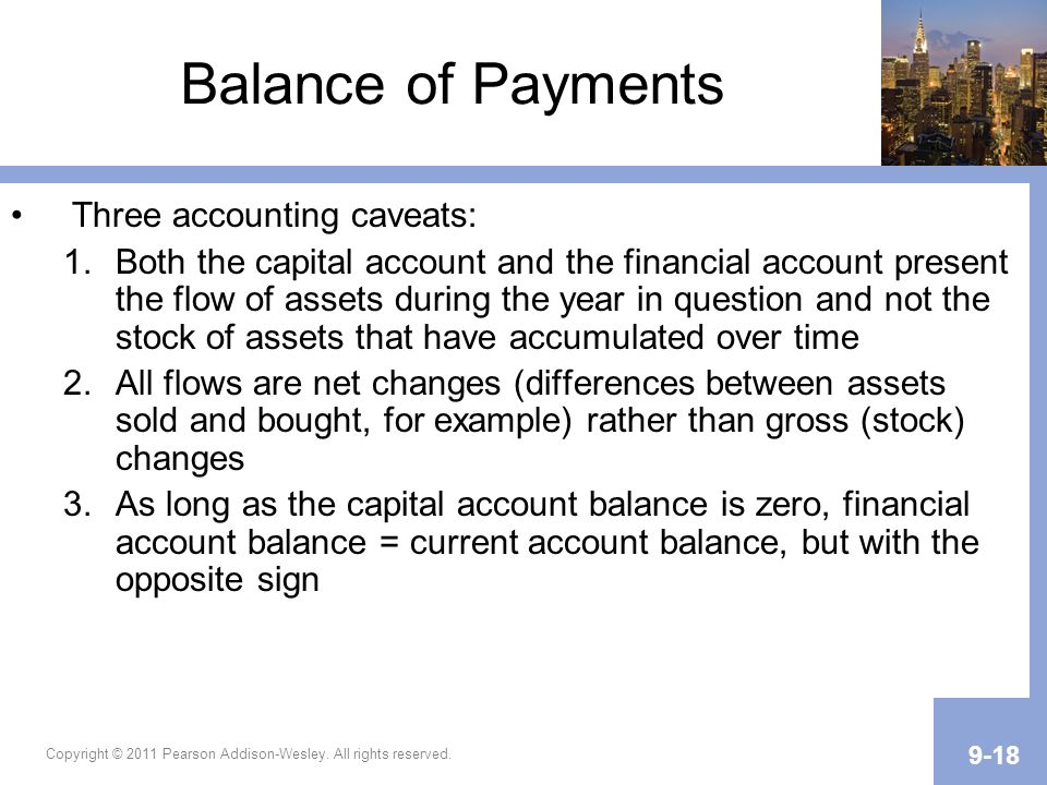 Balance of Payments Three accounting caveats: