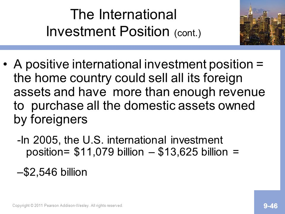 The International Investment Position (cont.)