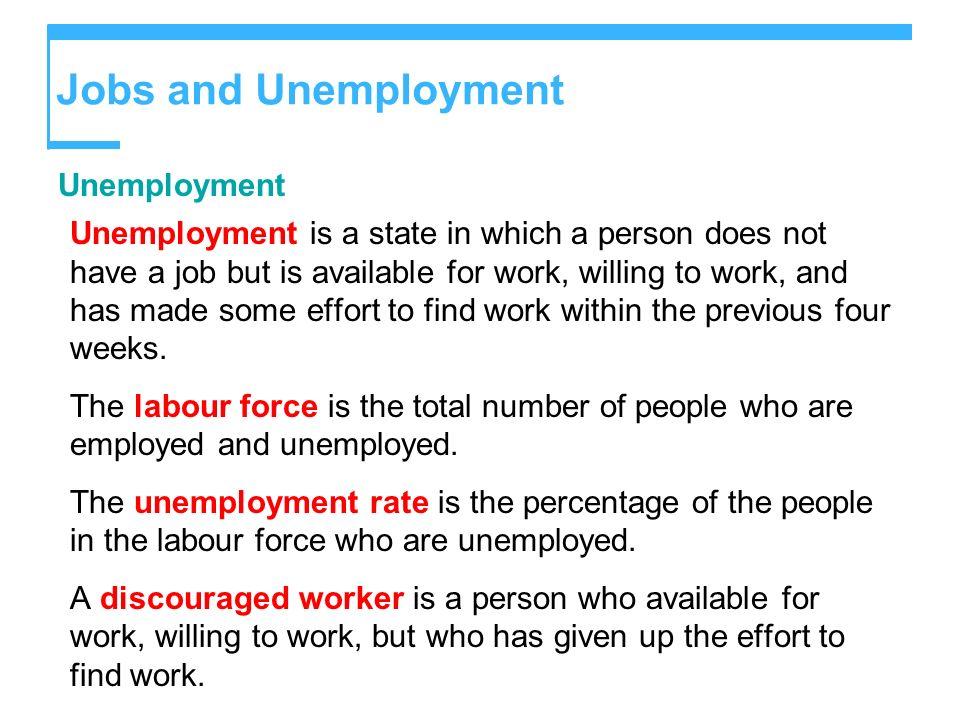 Jobs and Unemployment Unemployment