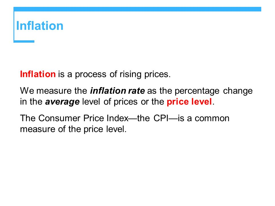 Inflation Inflation is a process of rising prices.
