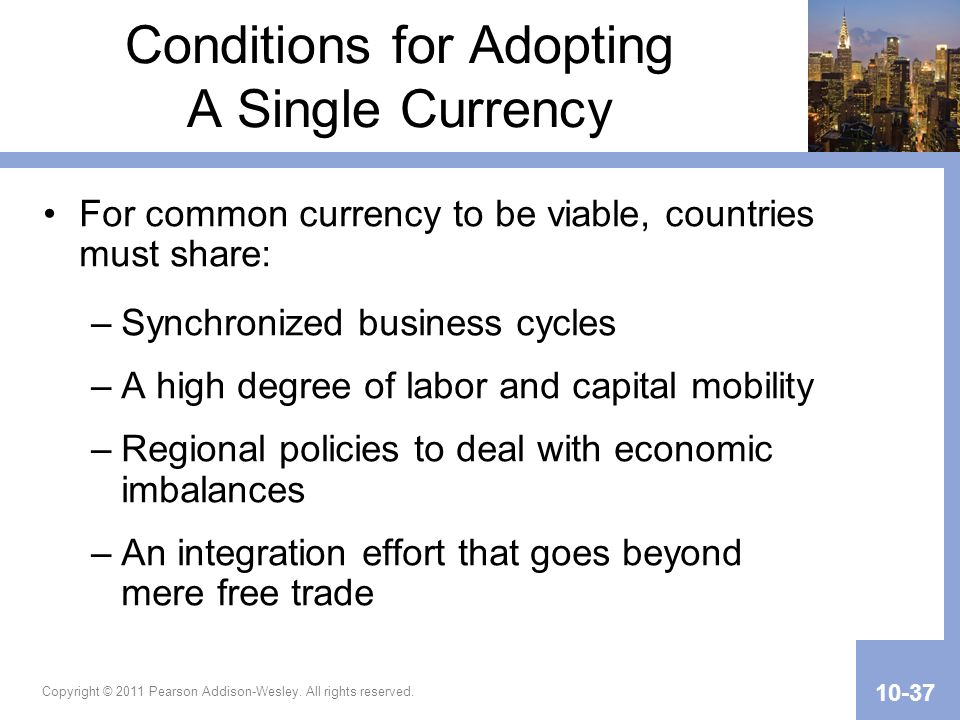 Conditions for Adopting A Single Currency