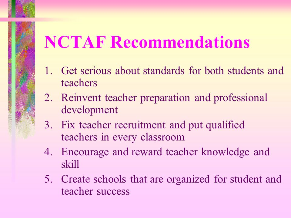 NCTAF Recommendations