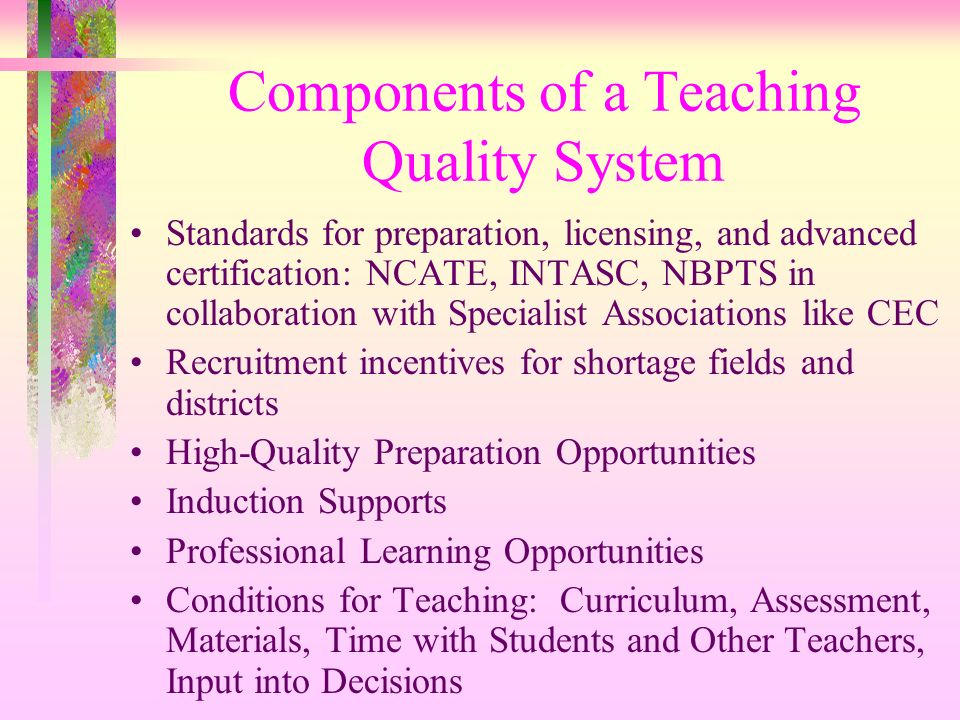 Components of a Teaching Quality System