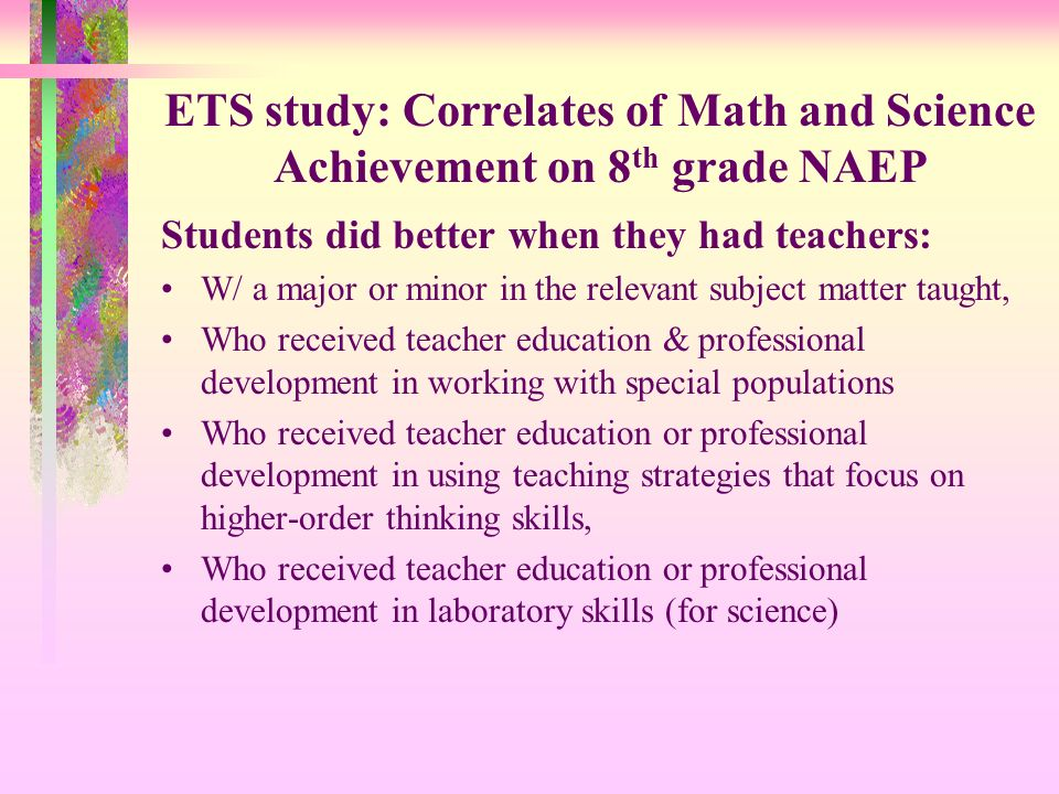 ETS study: Correlates of Math and Science Achievement on 8th grade NAEP
