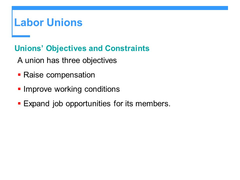 Labor Unions Unions' Objectives and Constraints
