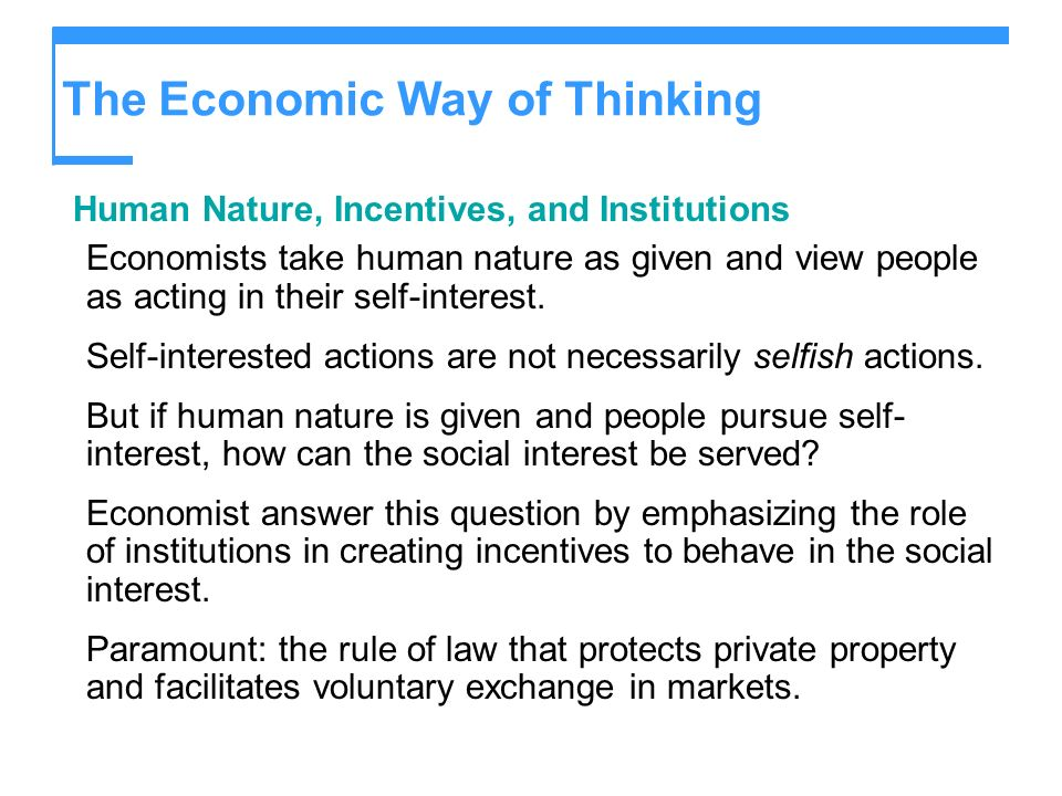 The Economic Way of Thinking