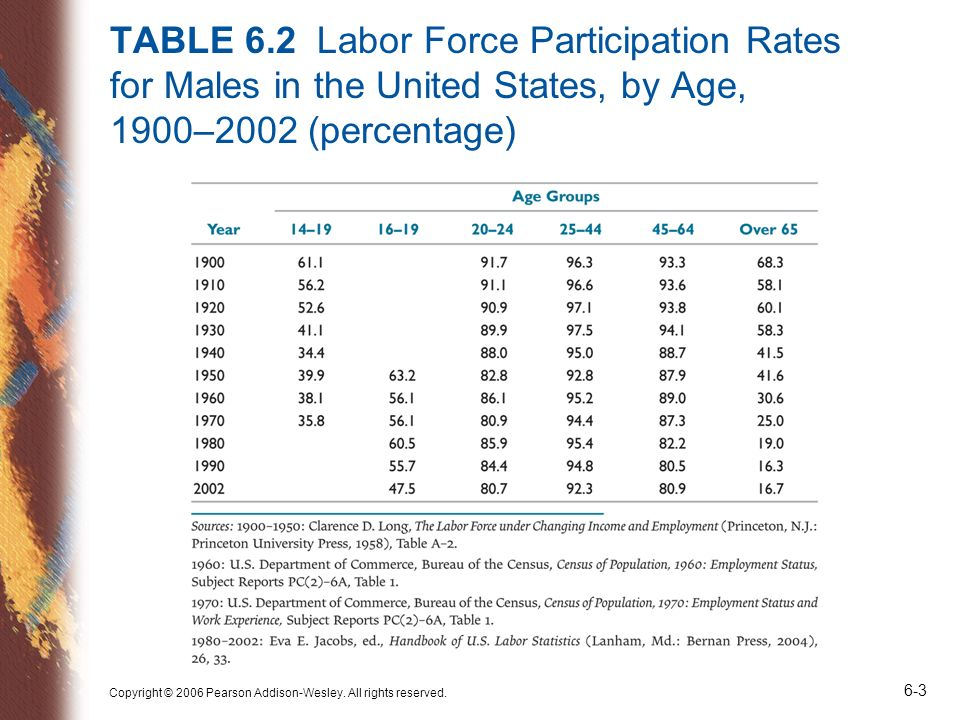 TABLE 6.2 Labor Force Participation Rates for Males in the United States, by Age, 1900–2002 (percentage)