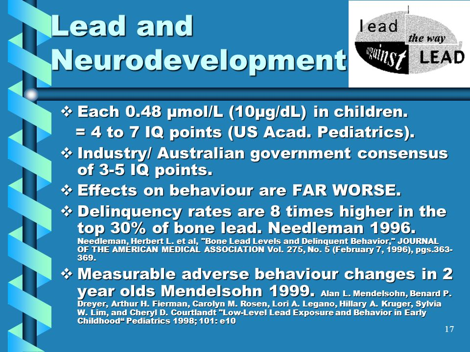 Lead and Neurodevelopment