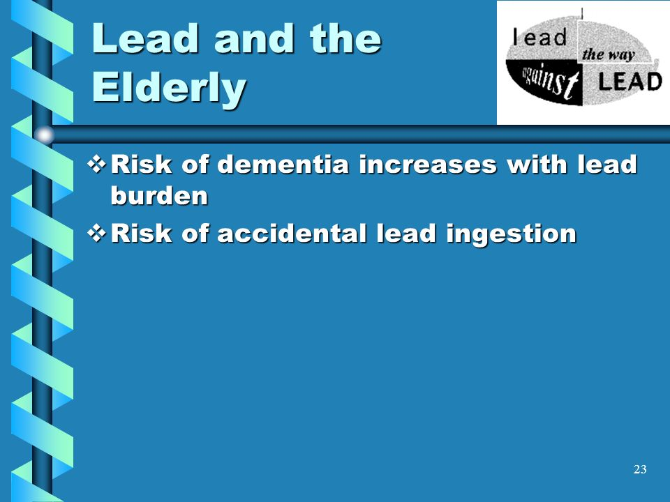 Lead and the Elderly Risk of dementia increases with lead burden